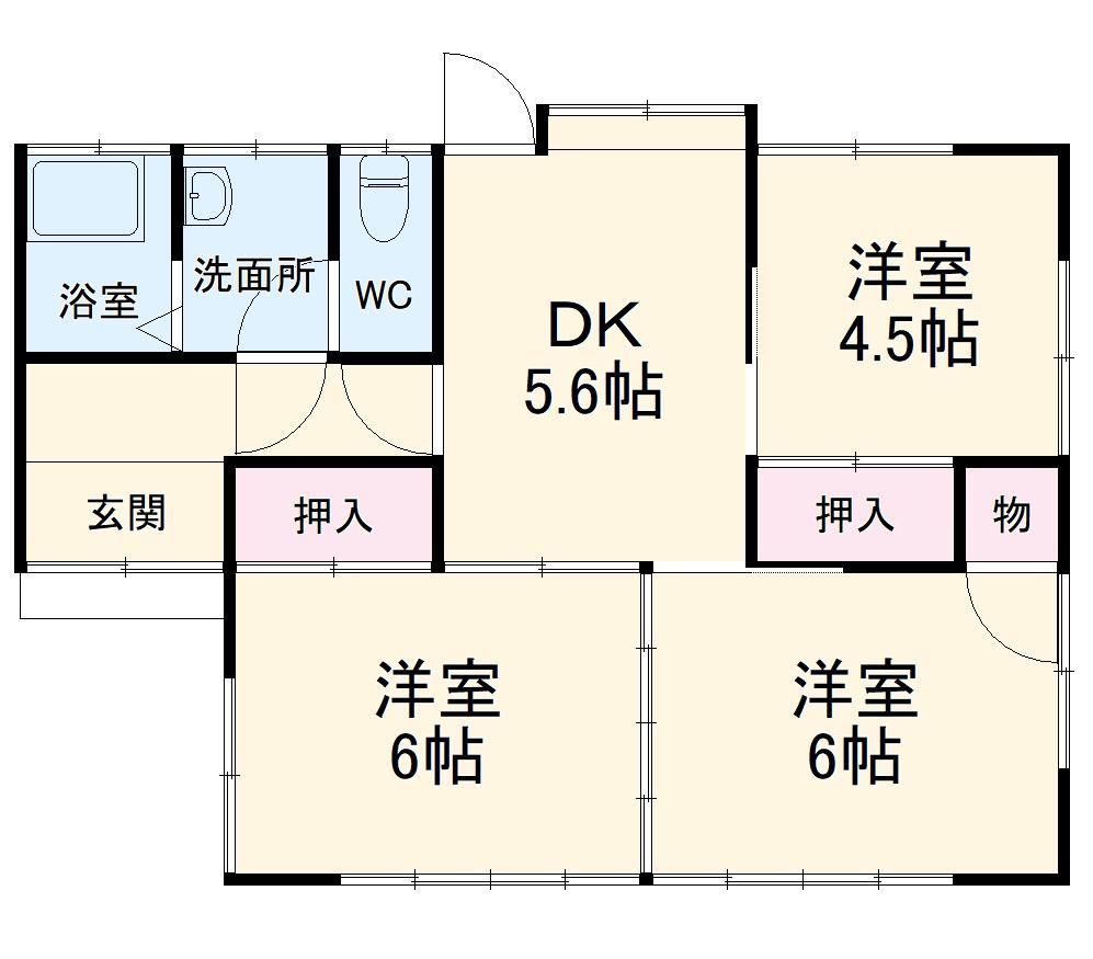 下平塚住宅 1号棟・1号室の間取り