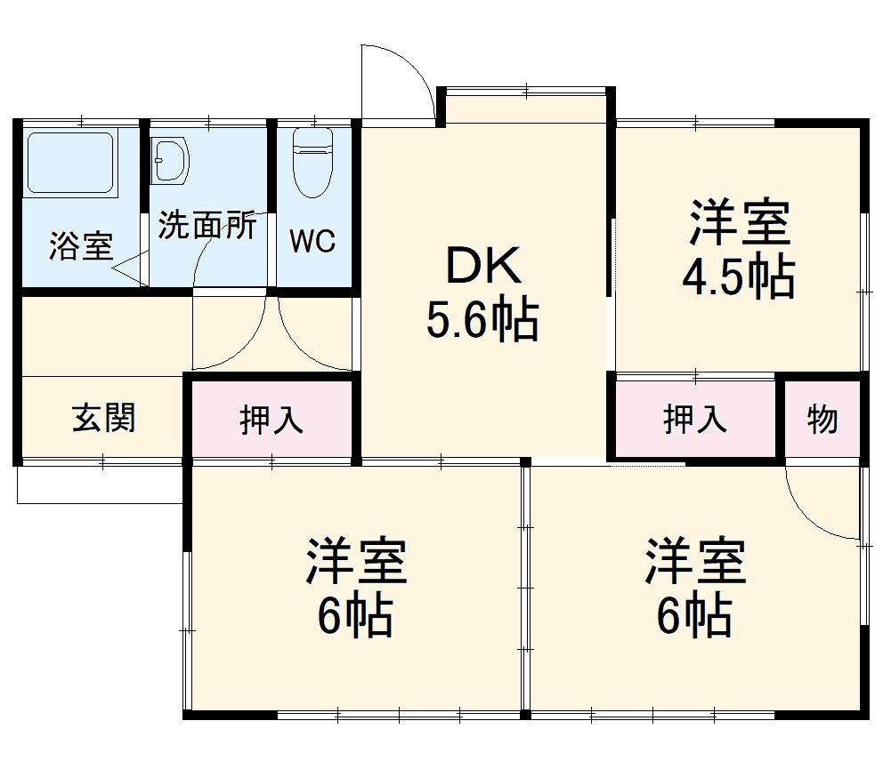 下平塚住宅2号棟・1号室の間取り