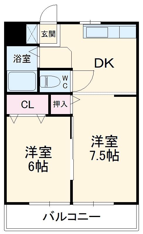 コーポ杉田No.2・102号室の間取り