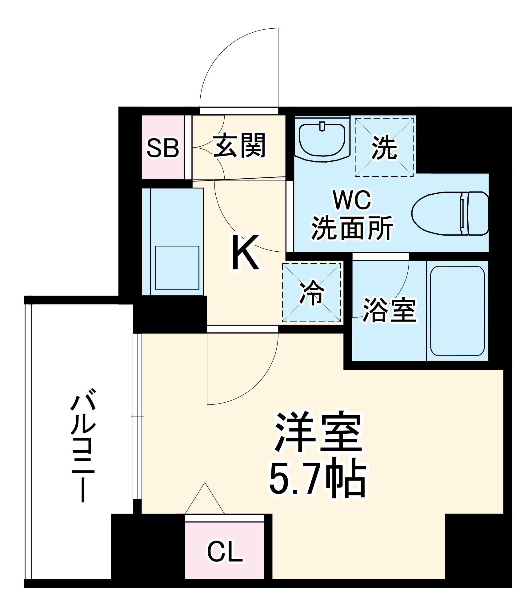 リライア横濱大通り公園 204号室の間取り