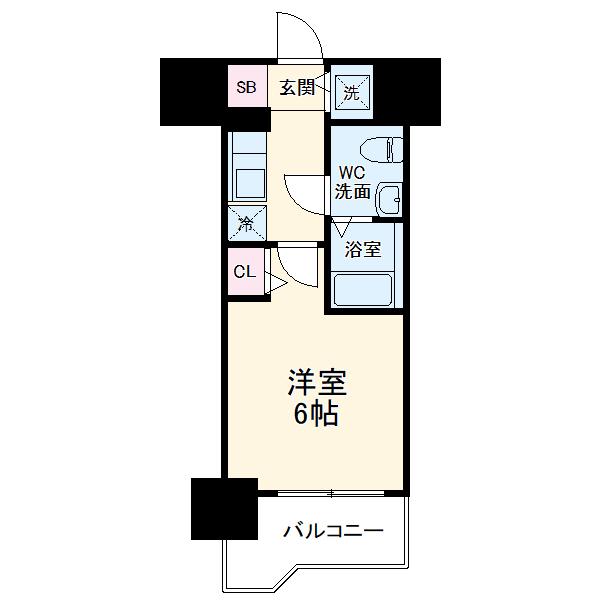 SHOKEN Residence横浜阪東橋・1103号室の間取り