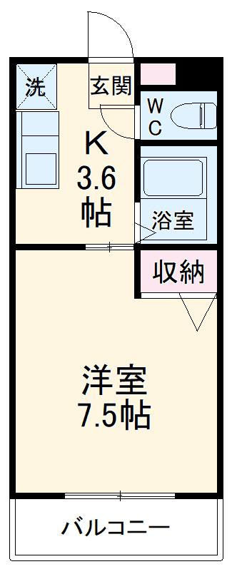 ユーミー東垂坂マンション・2B号室の間取り