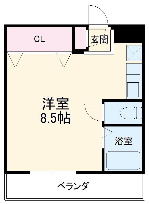 フェリセ富田・102号室の間取り