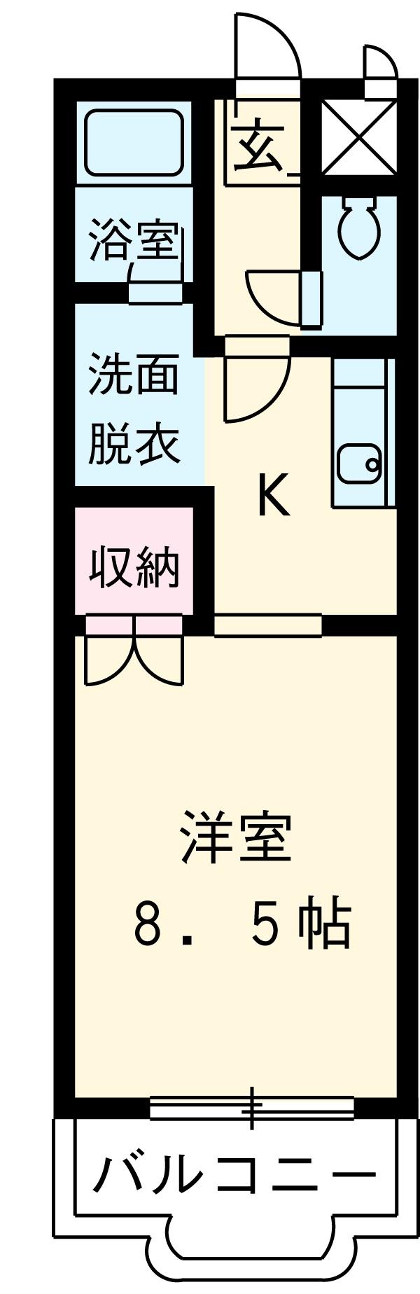 竹成マンション・1E号室の間取り