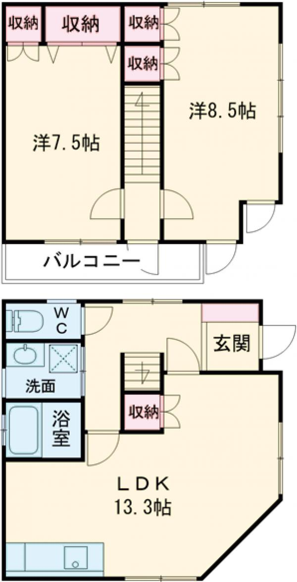 東瑞江3丁目貸家・1号室の間取り