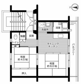 ビレッジハウス成田4号棟・0304号室の間取り