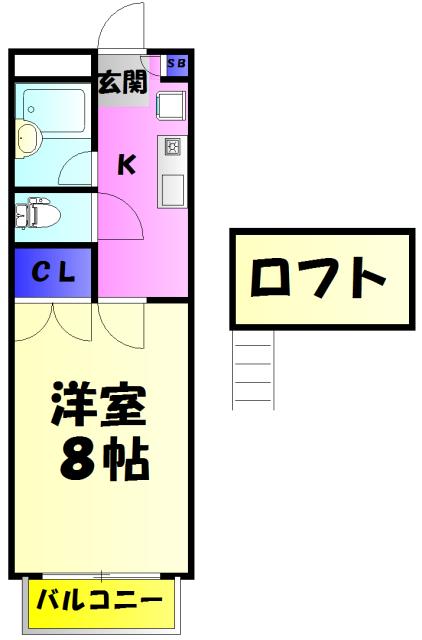 ドゥミル津田沼 206号室の間取り