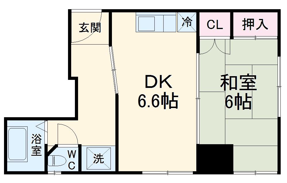 京第一マンション・2A号室の間取り