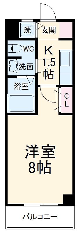 マンション赤坂・402号室の間取り