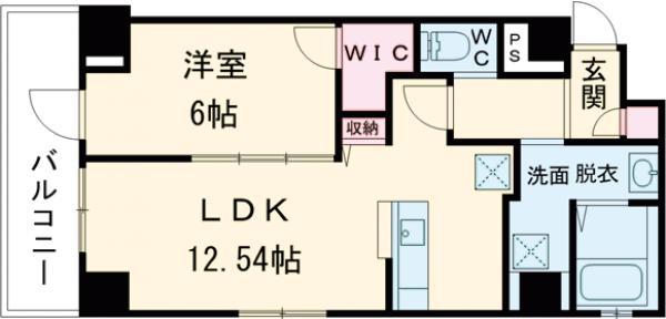 ベルティーセ新宿・602号室の間取り