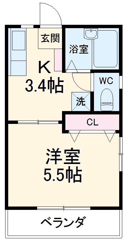 カーサ湘南B 202号室の間取り