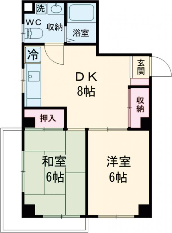 竹の園マンション・301号室の間取り