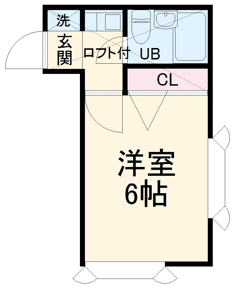 ローズアパートB9番館・101号室の間取り