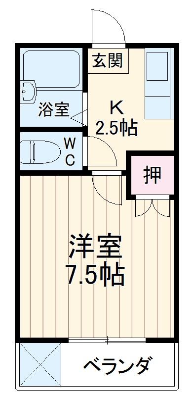 トサキハイツⅠ 105号室の間取り