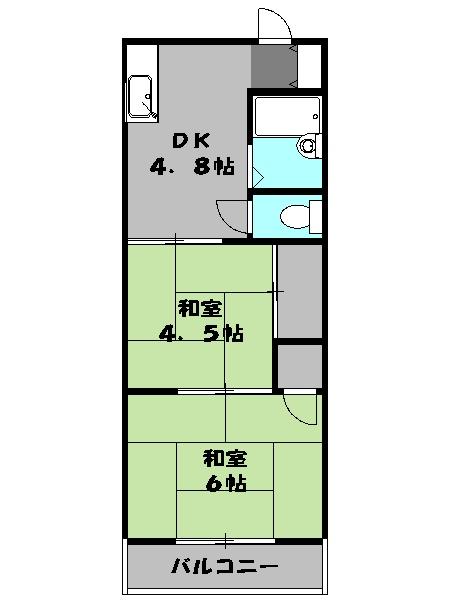 第6坂部コーポ・201号室の間取り