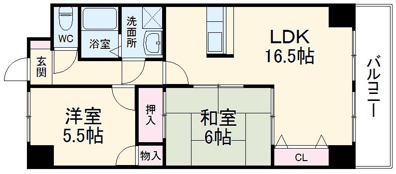 松重スカイマンション3・402号室の間取り