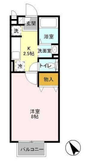 マ・メゾンASUKAⅡ・202号室の間取り