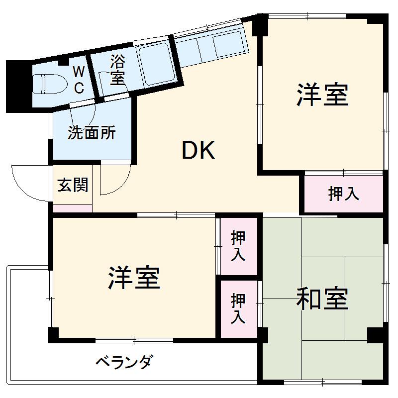 パームハウス茅ヶ崎 301号室の間取り