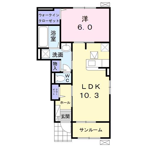 ガーデンハウス 梅の里 A・01020号室の間取り