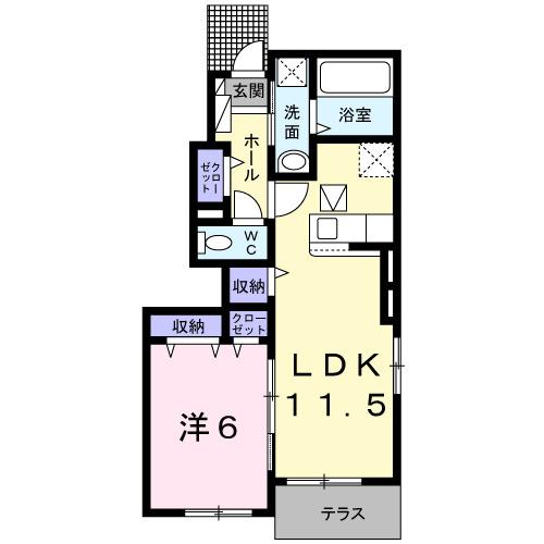ガーデンハウス 梅の里 B・01010号室の間取り
