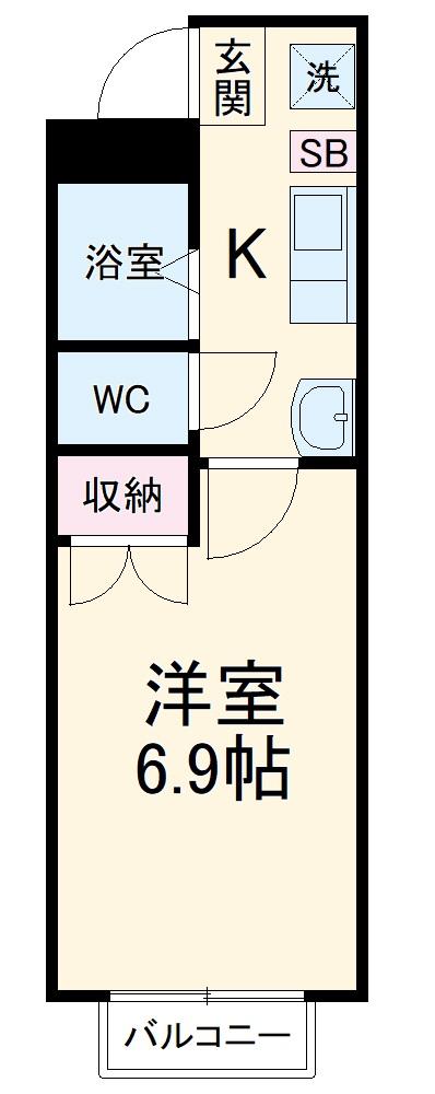 第3ホーメスト桜木 1C号室の間取り