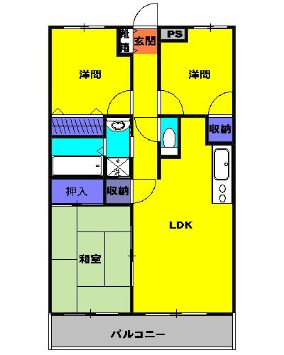マイメゾン湘南二番館・207号室の間取り