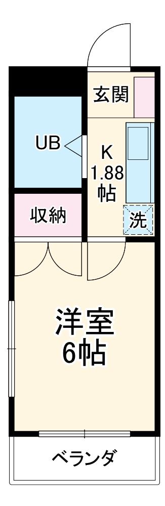 ビセンテハウス昭和町 202号室の間取り