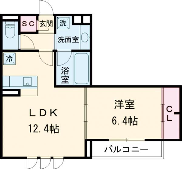 Maison桜の杜・202号室の間取り