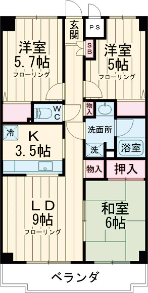 チェリーコート武蔵小金井・501号室の間取り