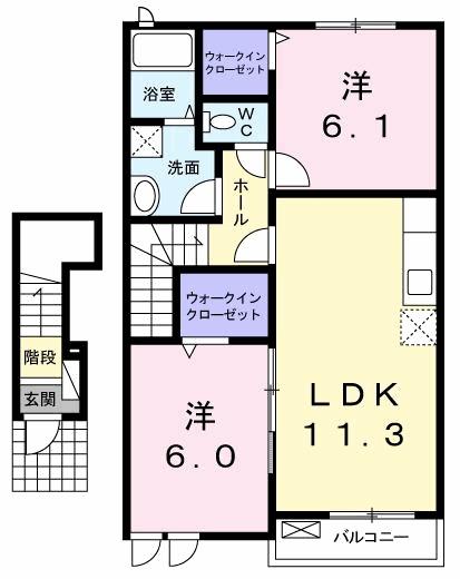 穂積Ⅱ・02020号室の間取り