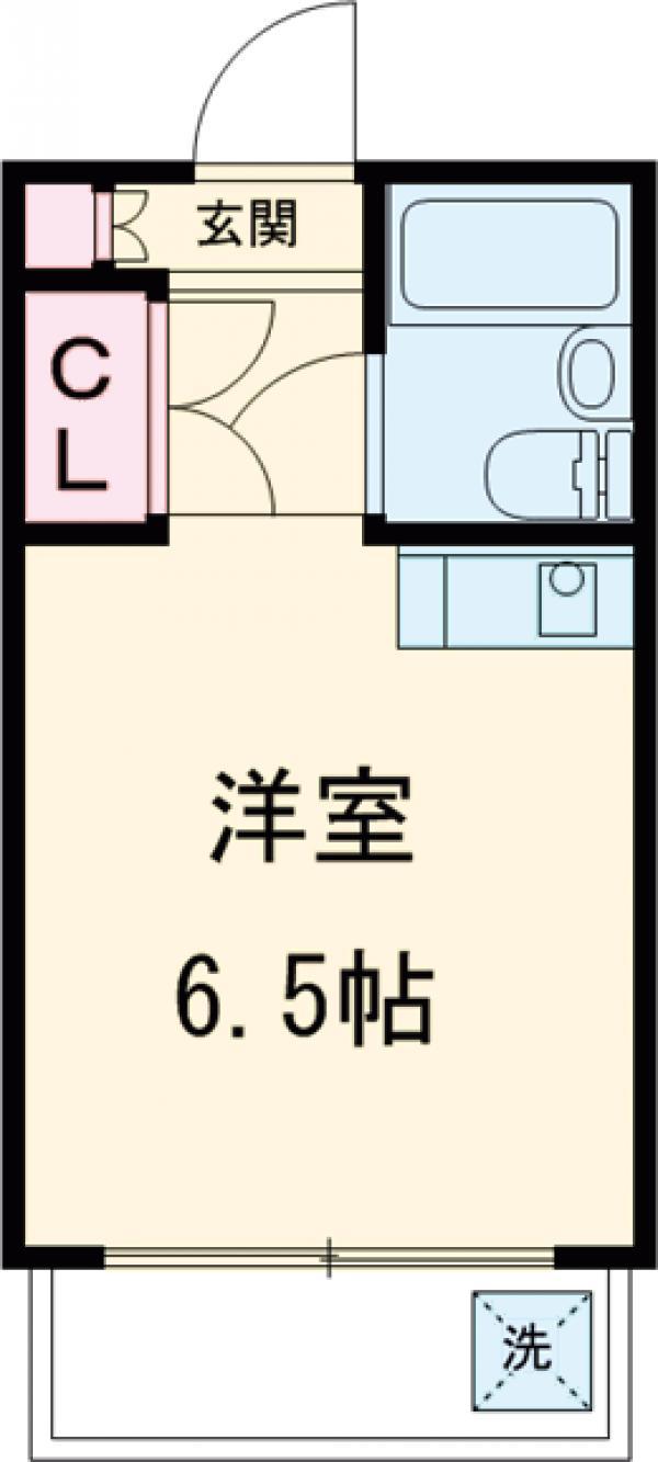弦巻アパートメント・2-D号室の間取り