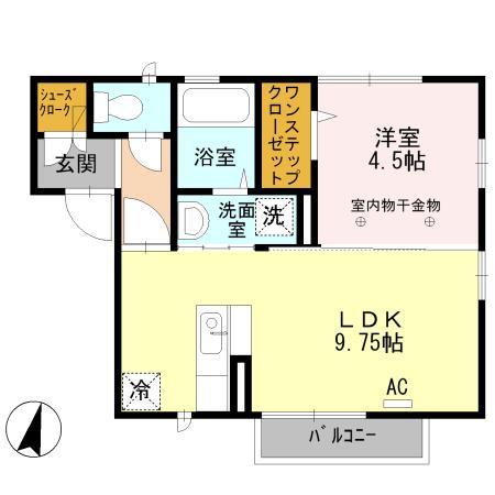 カーサさくら A・201号室の間取り