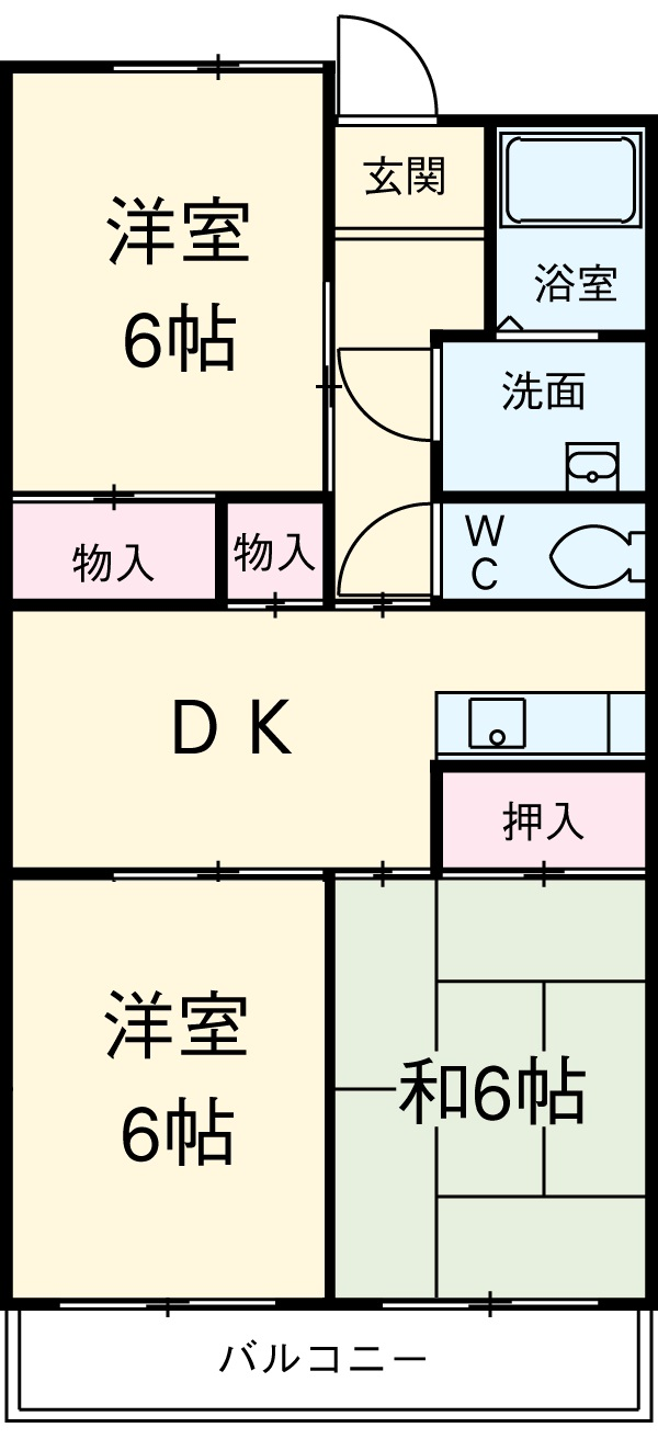 ウィンザ-K&Y・206号室の間取り