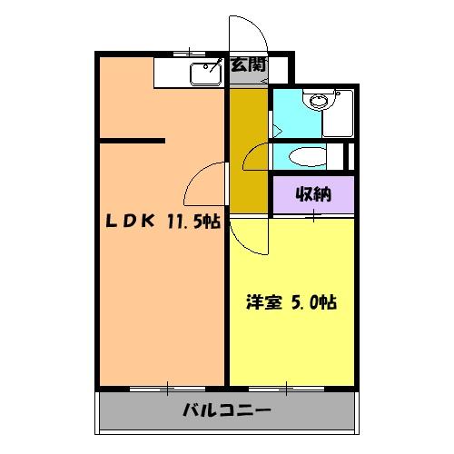 グリーンハイツ武田 2D号室の間取り