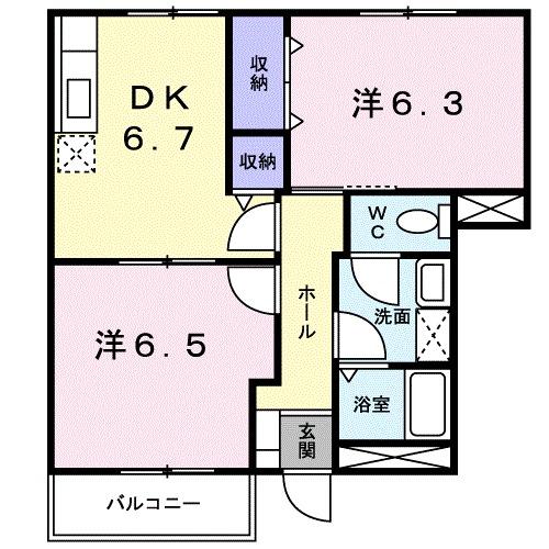 コーポフォレストB・01020号室の間取り