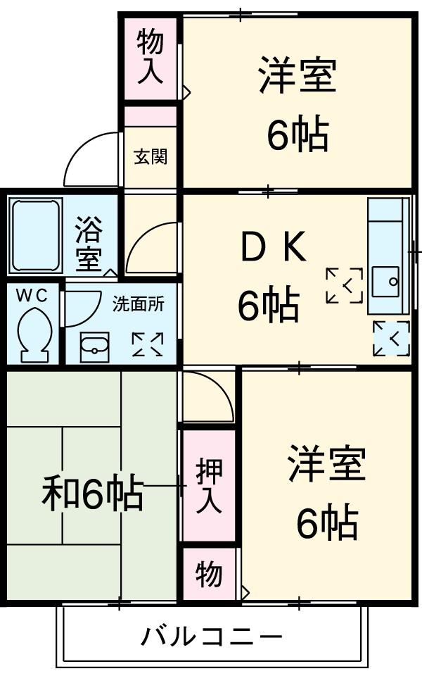 吉野ハイツⅠ・201号室の間取り