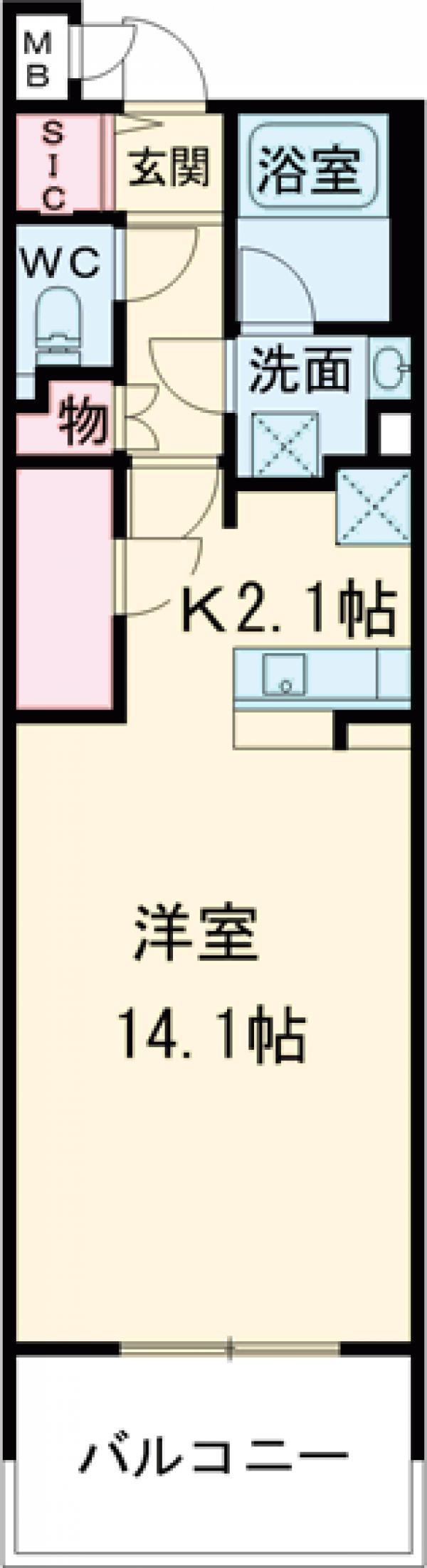 ロイヤルパークス花小金井・727号室の間取り