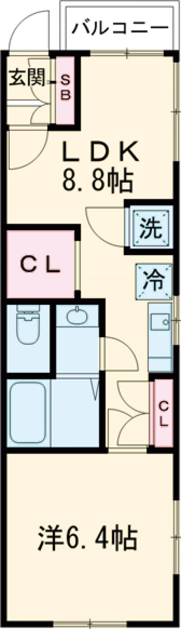 カーサ大井町・101号室の間取り