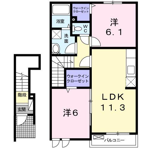 ストロベリ-ハウス C・02020号室の間取り