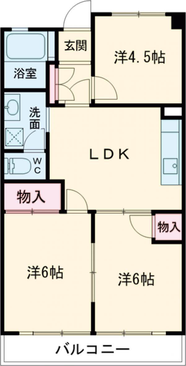 桑川町住宅2号棟・713号室の間取り