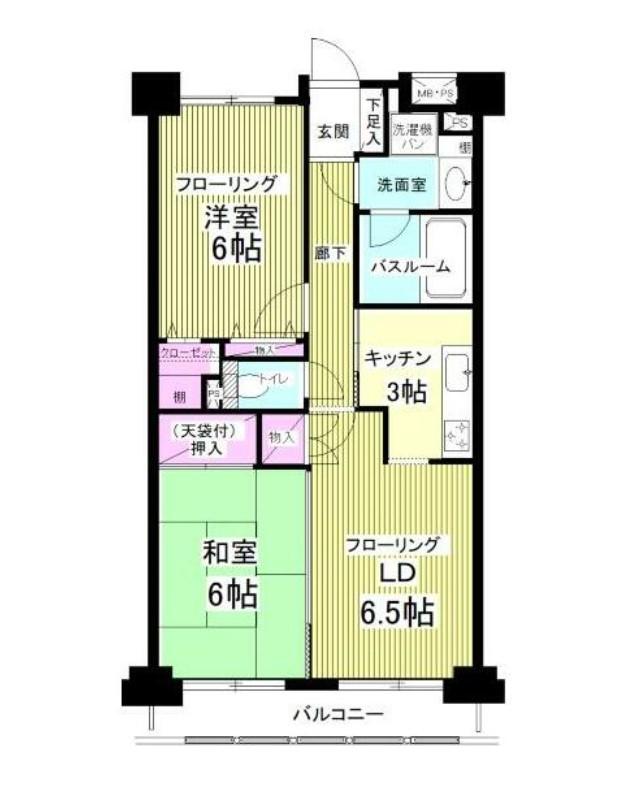 ライオンズマンション中野坂上シティ・2F号室の間取り
