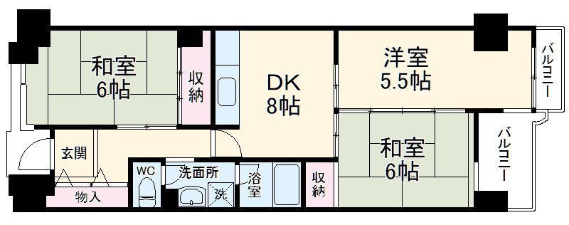 サンスクエア川崎2号館 602号室の間取り
