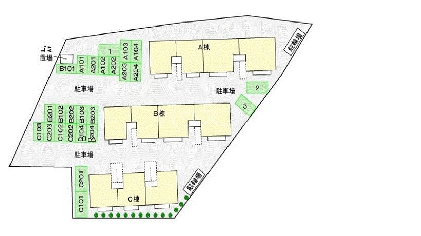 プランタン長谷部B 01030号室の駐車場