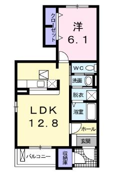 メルヴェールナカムラ壱番館 01010号室の間取り