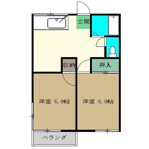 添田ハイツA・202号室の間取り