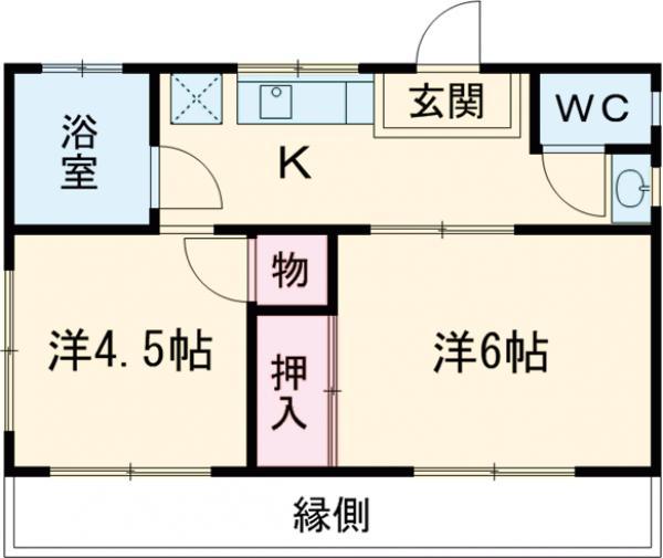 浜田荘・1F号室の間取り