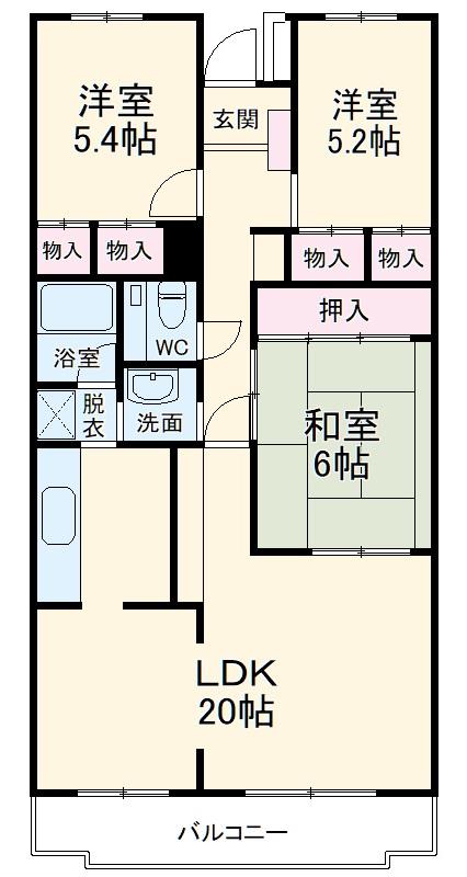 カルム鎌ヶ谷・306号室の間取り