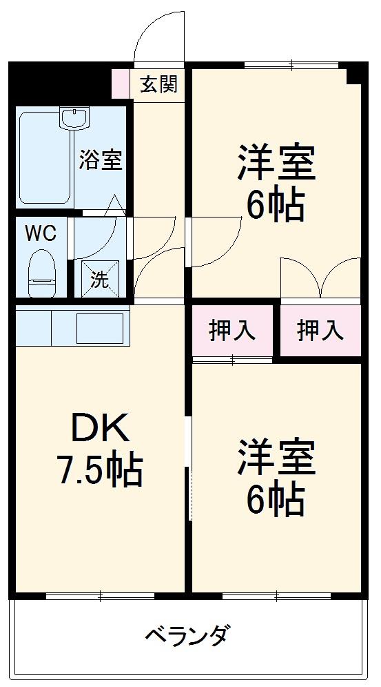 カーム富岡・20-B号室の間取り