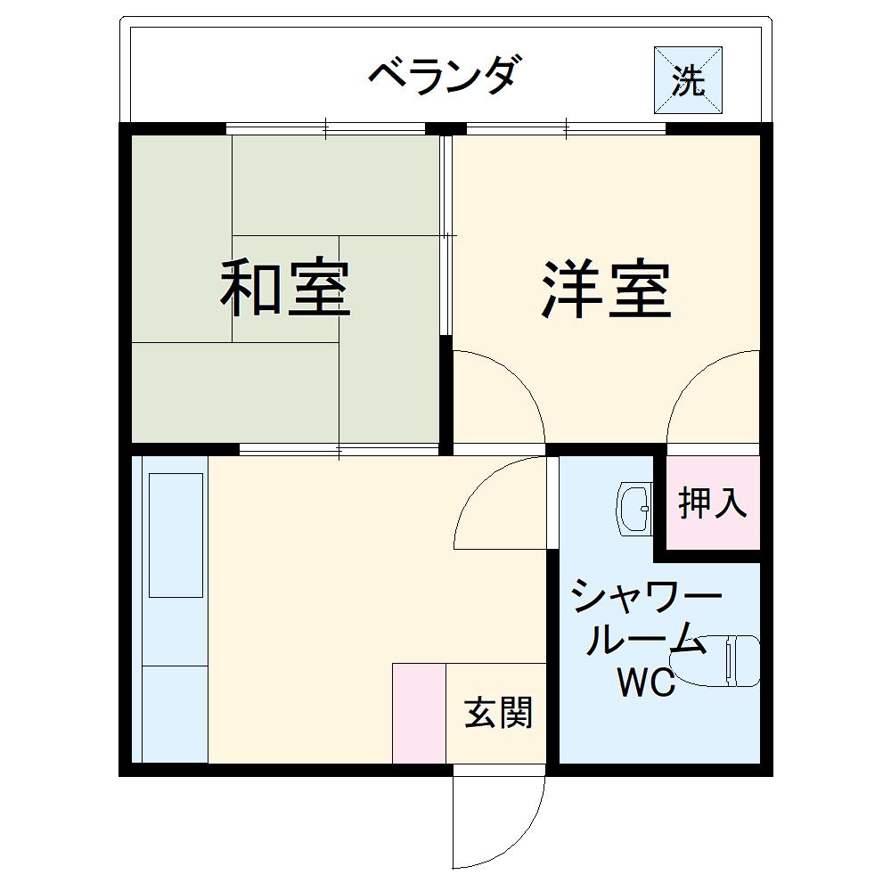 東アパート・307号室の間取り