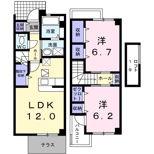 セレーノ本宿A・01040号室の間取り